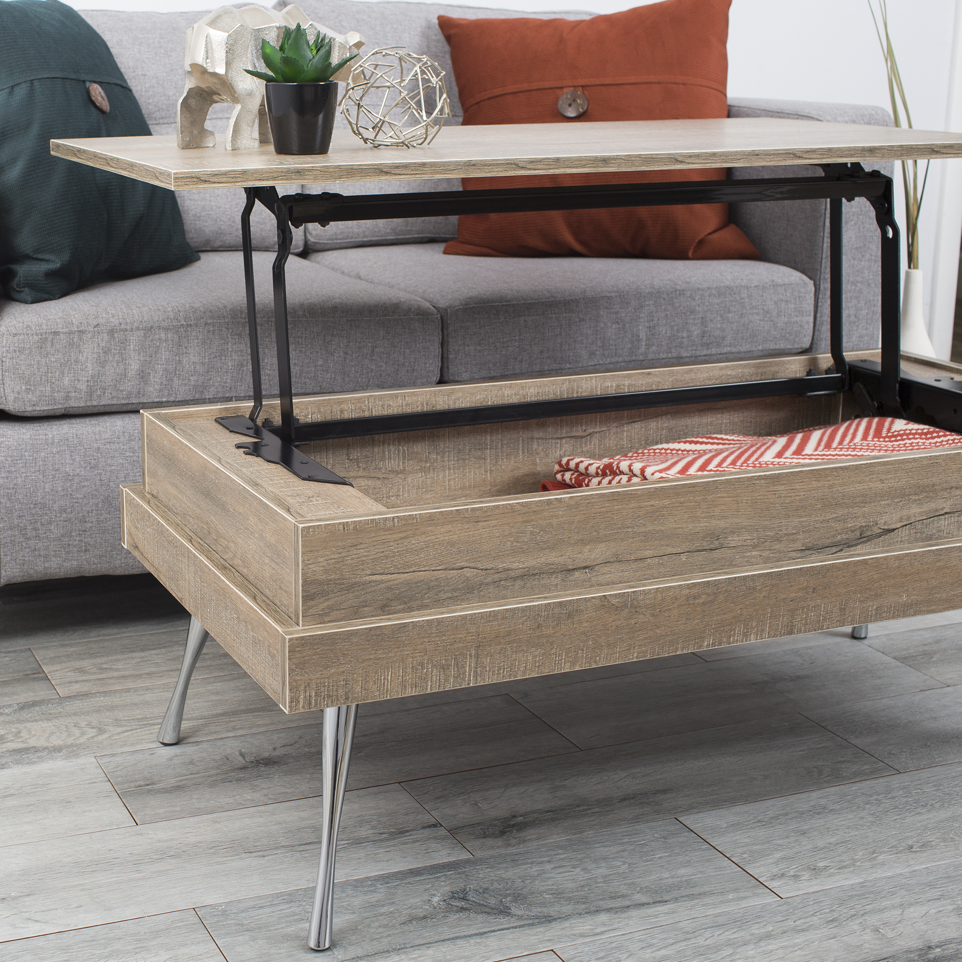 Koryo Lift Top Faux Wood Laminate With Chrome Legs Coffee Table
