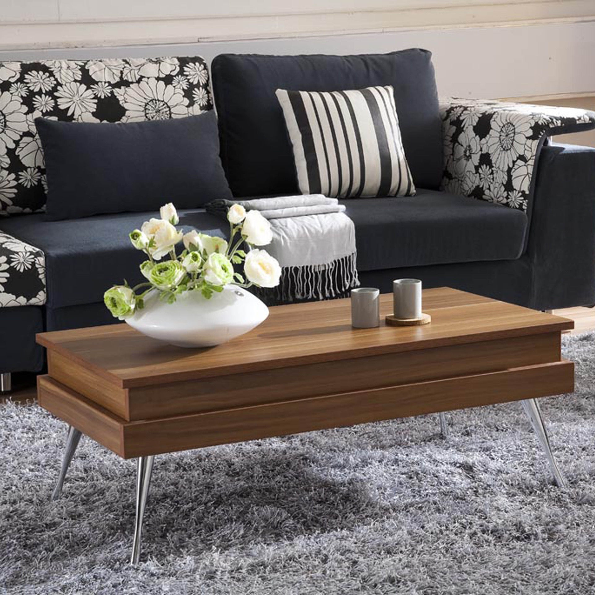 Koryo Lift Top Melamine Veneer Wood With Chrome Legs Coffee Table