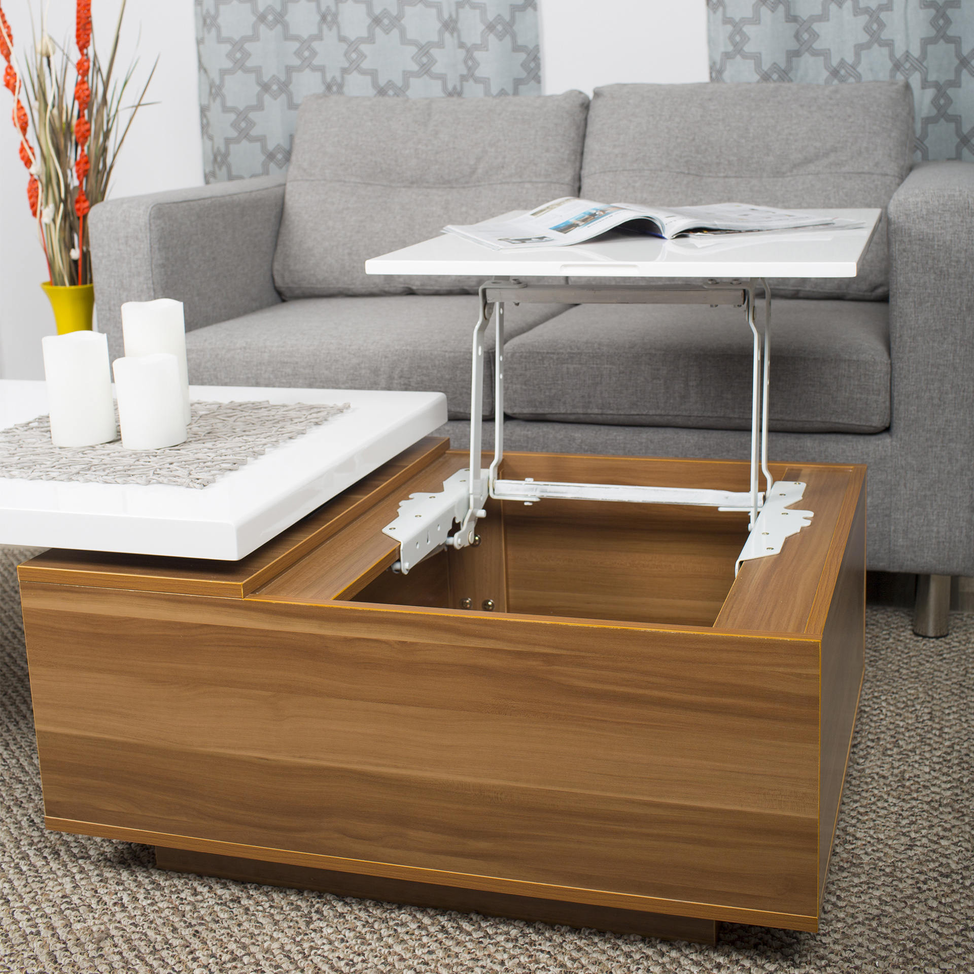 Adele White Lacquer High Gloss Walnut Melamine Veneer Wood Coffee