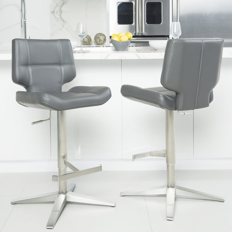 Seva Brushed Stainless Steel High-Back Adjustable Height