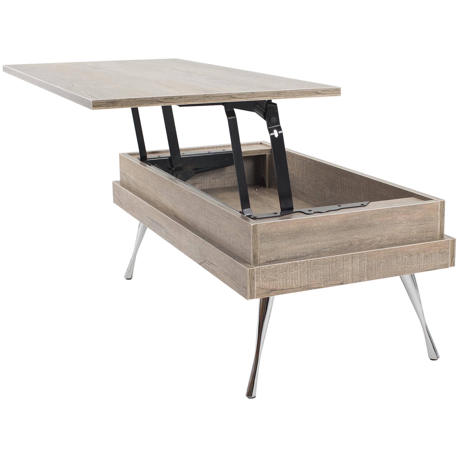 Koryo Lift-Top Faux-Wood Laminate With Chrome Legs Coffee