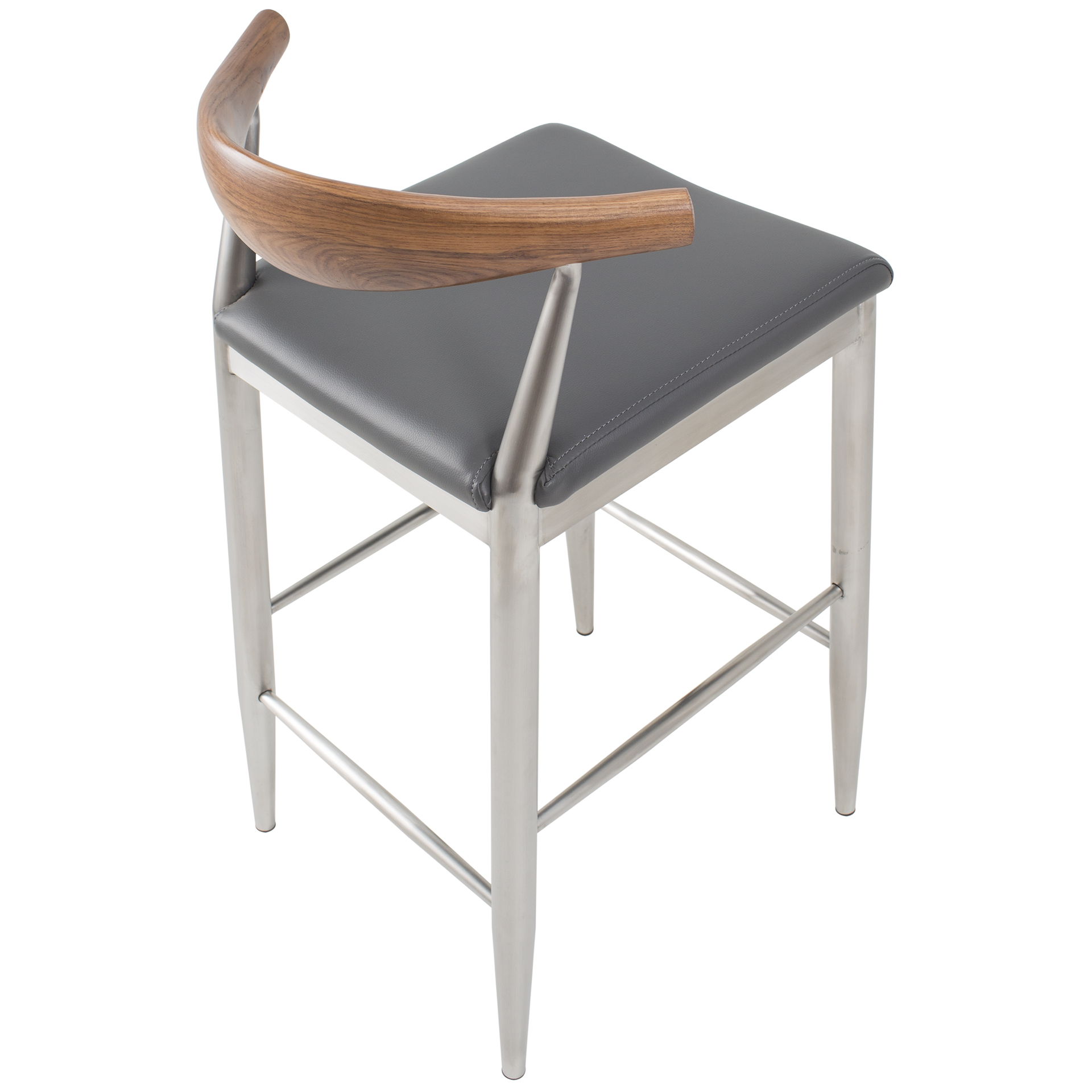 Timbr 26 Inch Brushed Stainless Solid Wood Mid Back