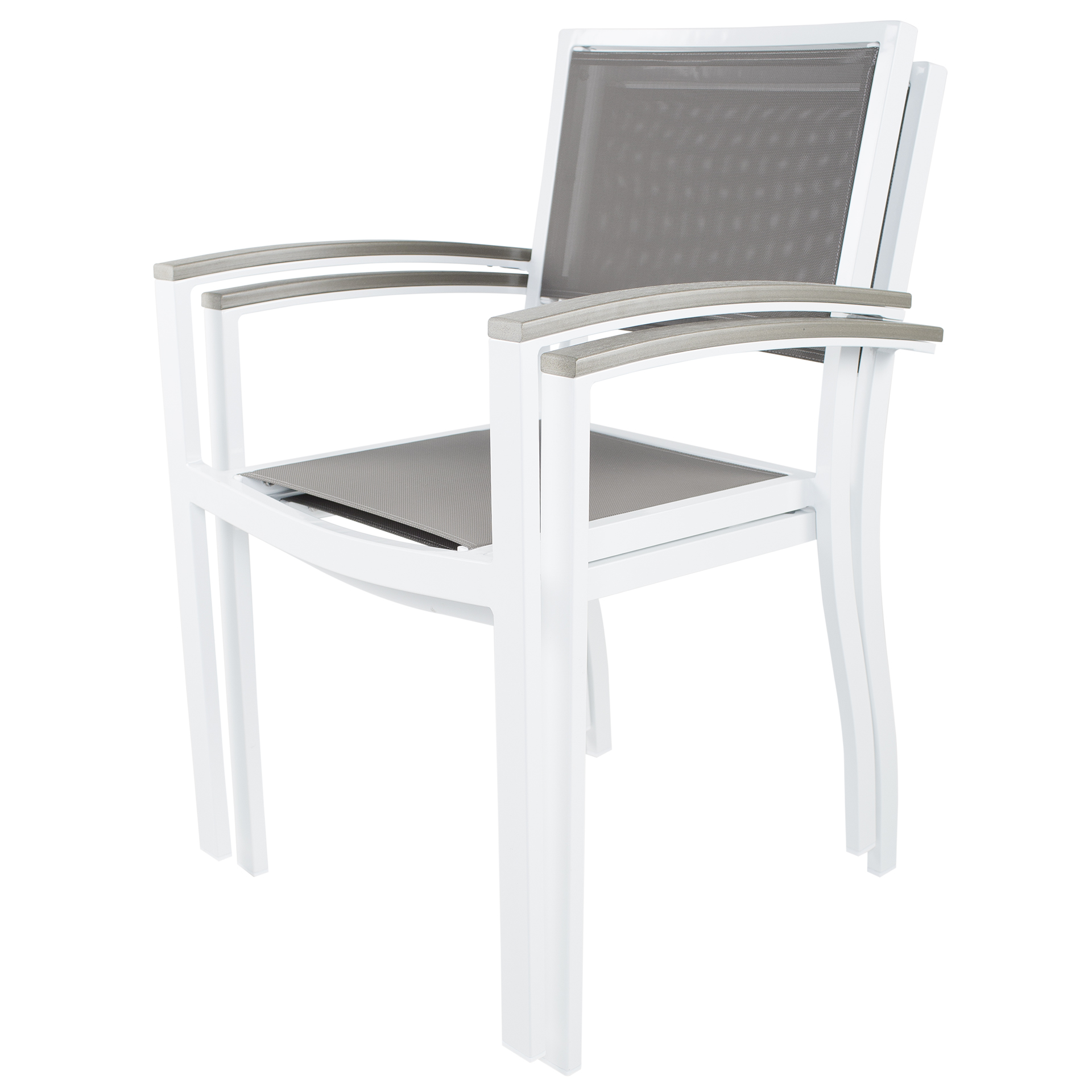 Riviera White Grey Commercial Grade Outdoor Sling Stackable Dining